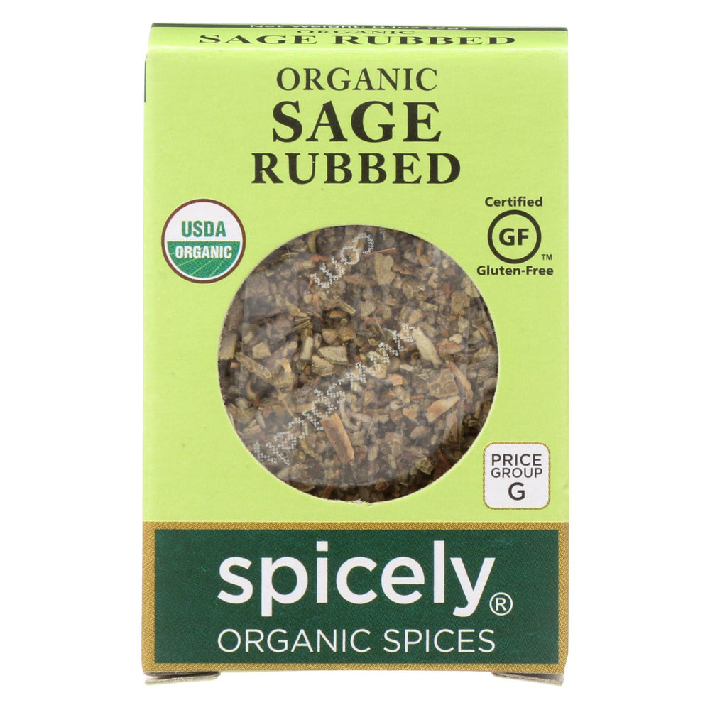 Spicely Organics - Organic Sage - Rubbed - Case Of 6 - 0.1 Oz.