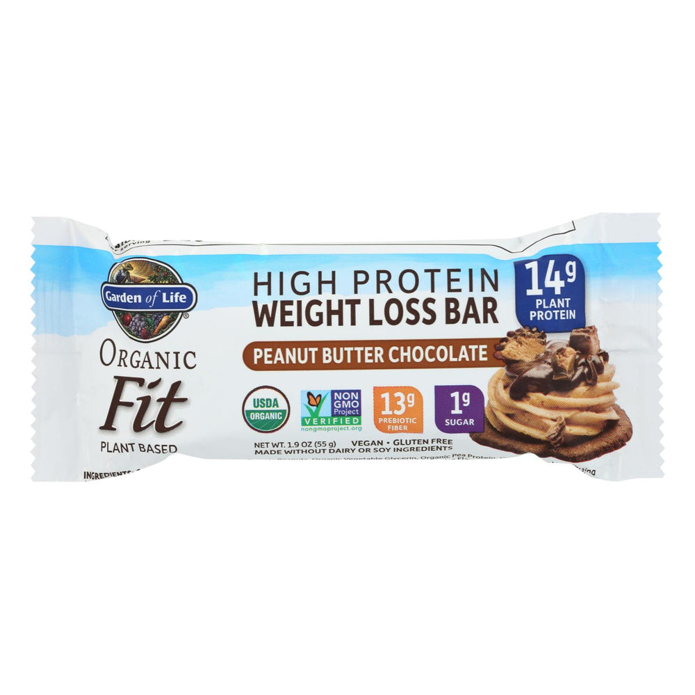 Garden Of Life - Fit High Protein Bar Peanut Butter Chocolate - Case Of 12 - 1.9 Oz
