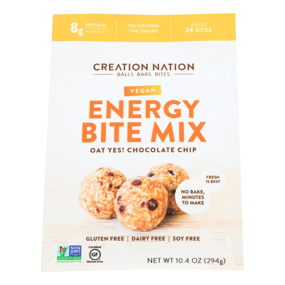 Creation Nation Oat Yes! Chocolate Chip Vegan Energy Bite Mix - Case Of 6 - 10.4 Oz