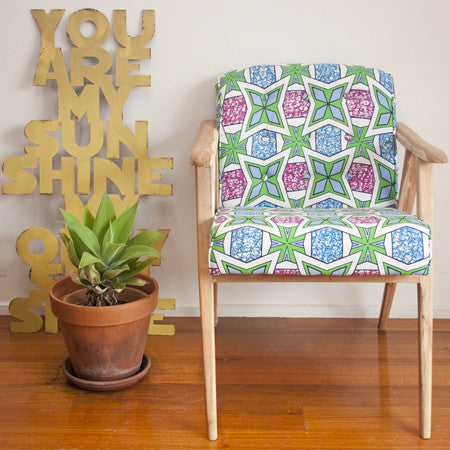 Armchair - Blue Green Geo Print