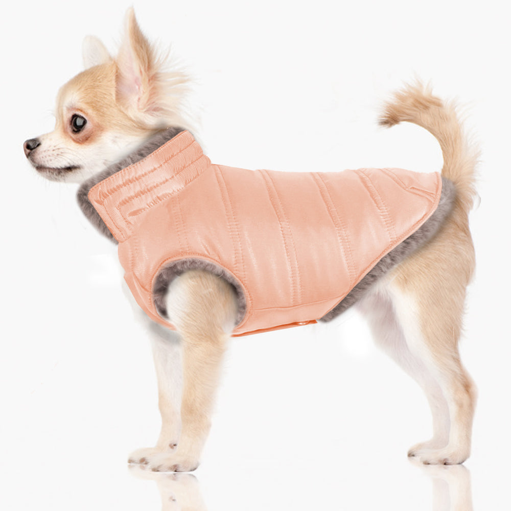 Load image into Gallery viewer, Enya Reversible Puffer Dog Jacket in Grey/Pink