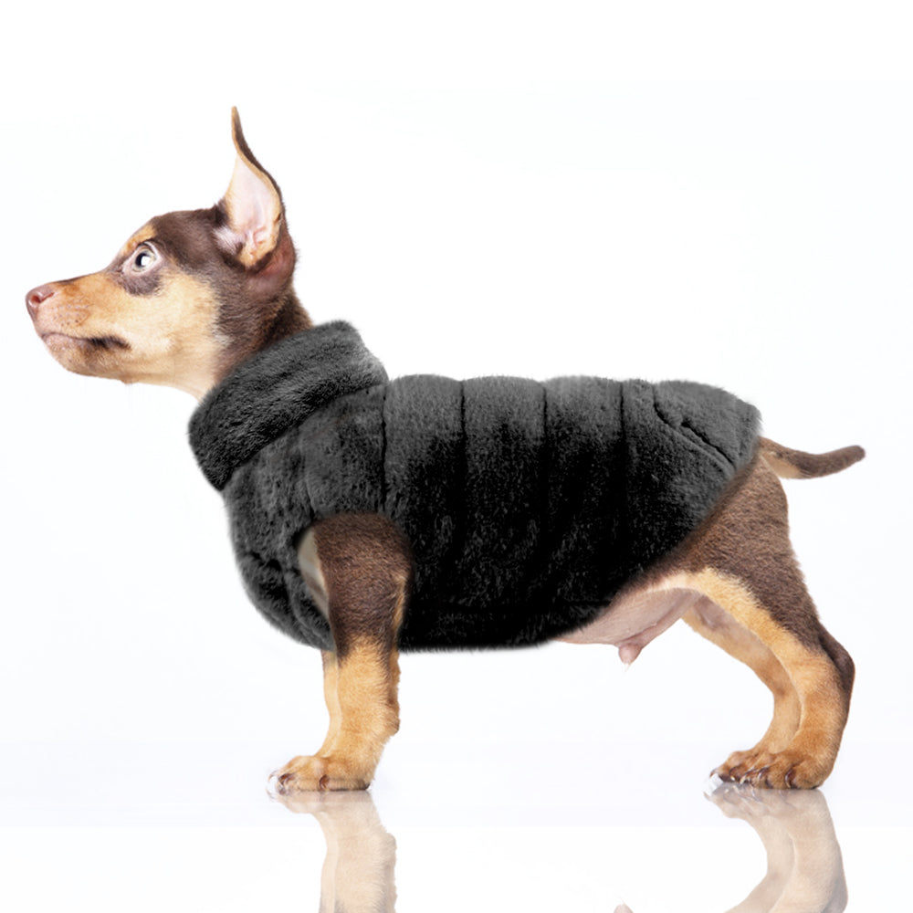 Enya Reversible Puffer Dog Jacket in Black/Grey
