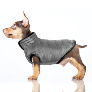Load image into Gallery viewer, Enya Reversible Puffer Dog Jacket in Black/Grey