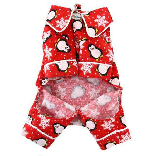 Load image into Gallery viewer, Penguins and Snowflakes Flannel Pajamas with pockets