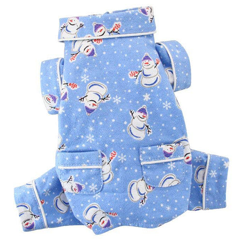 Load image into Gallery viewer, Snowmen and Snowflakes Flannel Pajamas with Pockets