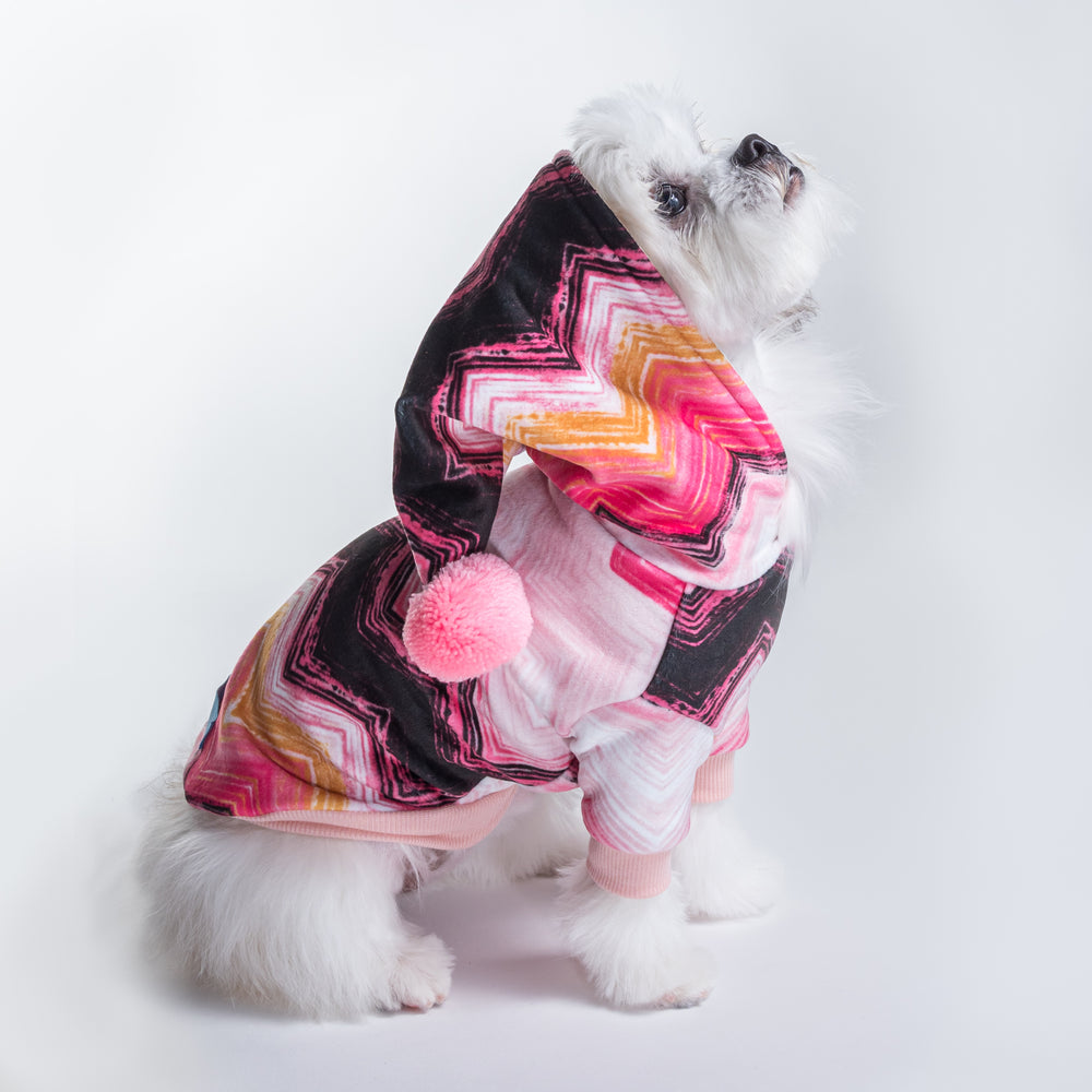Le Chien Bleu Pink Chevron Dog Hoodie on Model Tilly by Fetch Shops