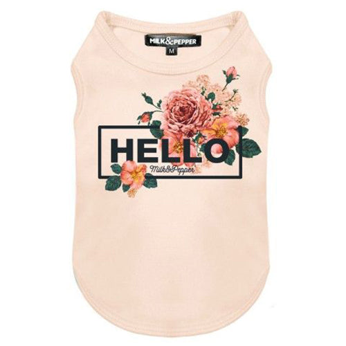 "Load image into Gallery viewer, Devon ""Hello"" Sleeveless T-Shirt in Pink"