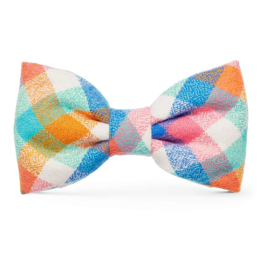 Easter Egg Plaid Flannel Dog Bow Tie Attachment