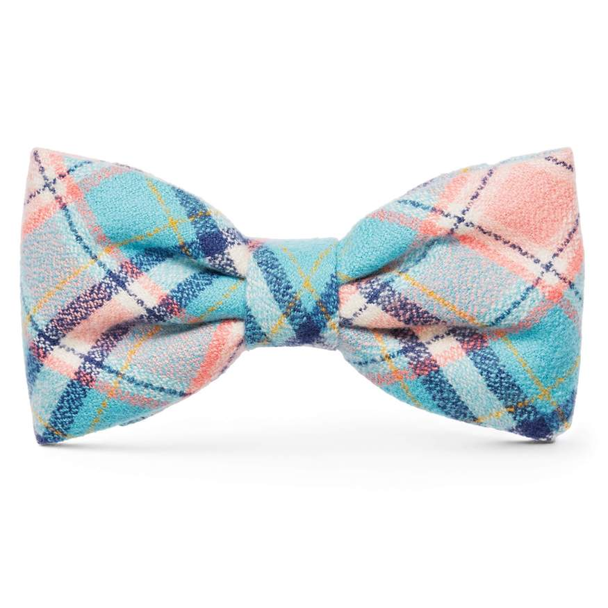 Pastel Plaid Flannel Dog Bow Tie Attachment