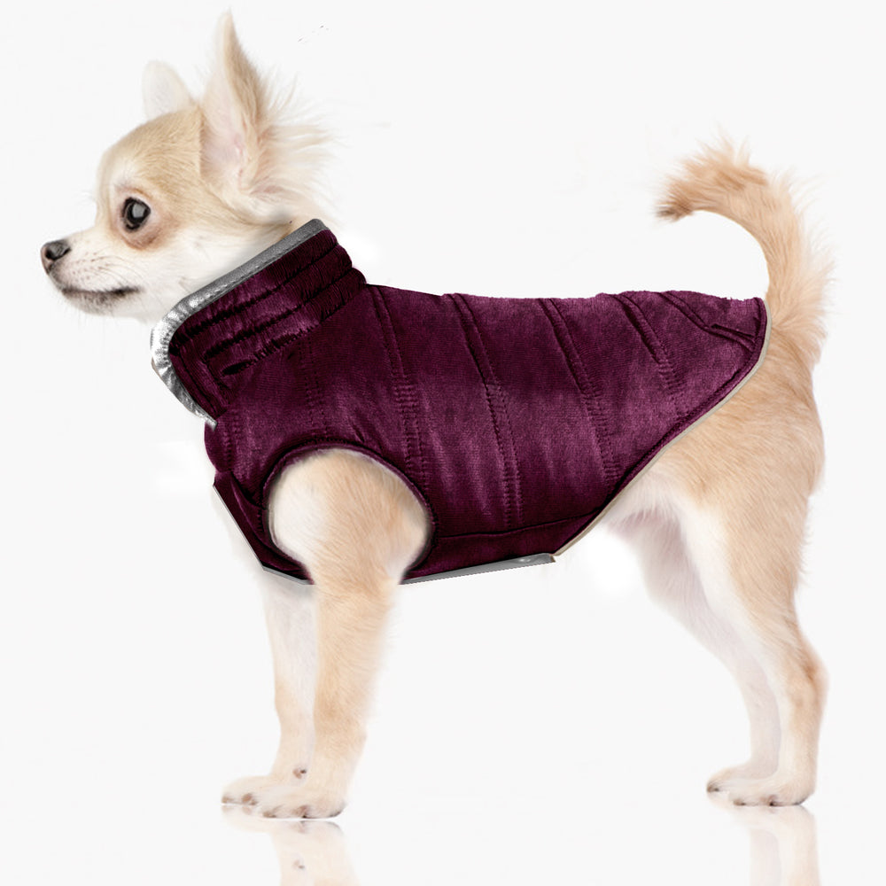 Load image into Gallery viewer, Velvet Reversible Puffer Dog Jacket in Purple/ Silver