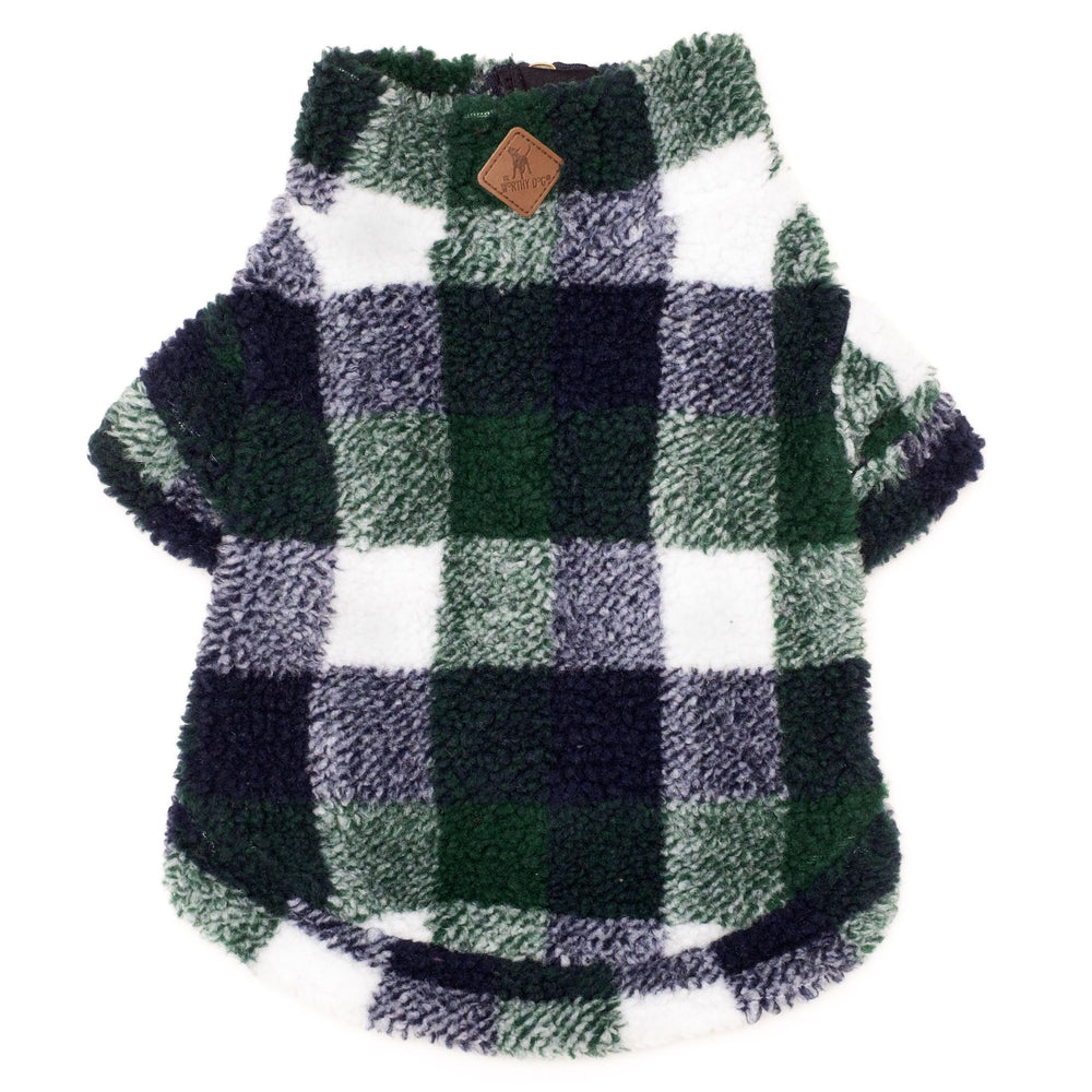 Plaid Sherpa Fleece Dog Pullover in Hunter/Navy
