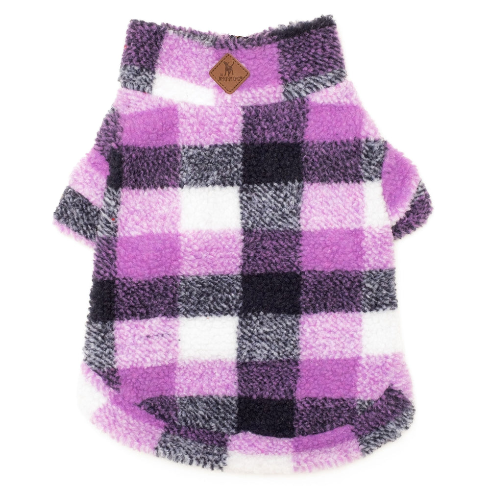 Plaid Sherpa Fleece Dog Pullover in Purple/Navy