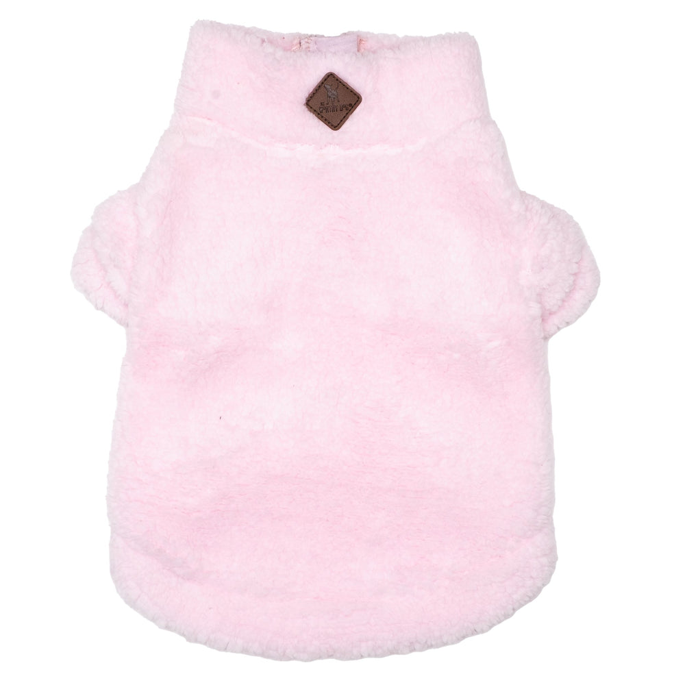 Solid Sherpa Fleece Dog Pullover in Pink