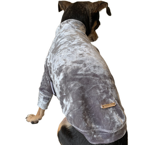 Crushed Velour Long Sleeve Dog Top in Silver