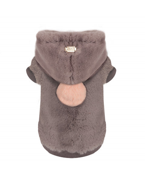 Yelana Faux Fur Hoodie Jacket in Grey