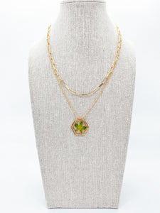 "The Anderson Layering Necklace - Sweet Green  (18"")"