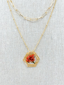 "The Anderson Layering Necklace -  Delicate Reds  (18"")"