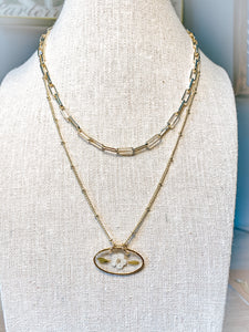 "The Anderson Layering Necklace -  Oval Posy(18"")"
