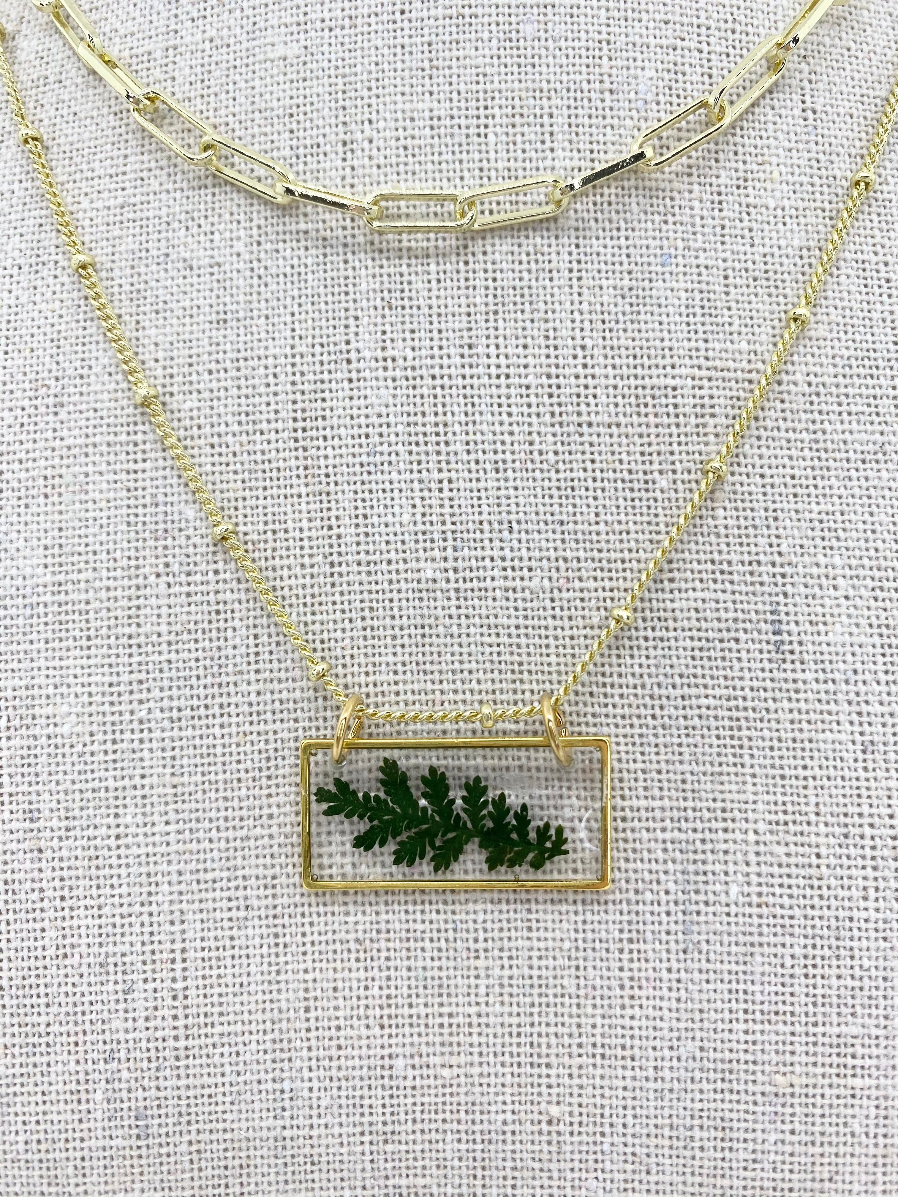 "The Anderson Layering Necklace - Sweet Green Bar (18"")"