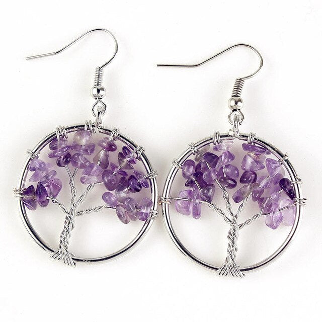 Amethyst Tree of Life Earrings
