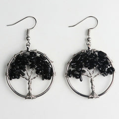 CLEARANCE! ~ LAST ONE ~ Black Tourmaline Tree of Life Earrings