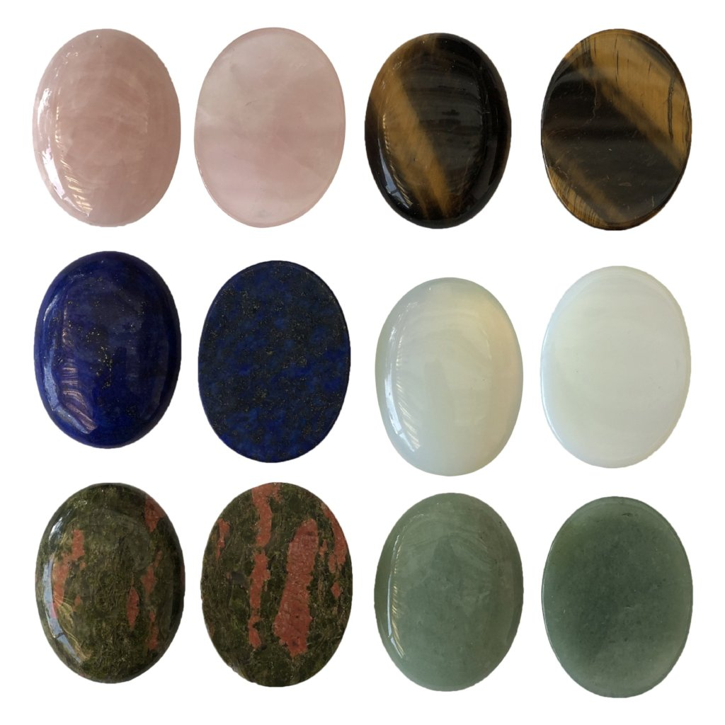 Oval Cabochon, Worry, Meditation Stones - FLATBACK - Reiki-Charged
