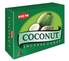Coconut Incense Cones by HEM with Small Rose Quartz inside box