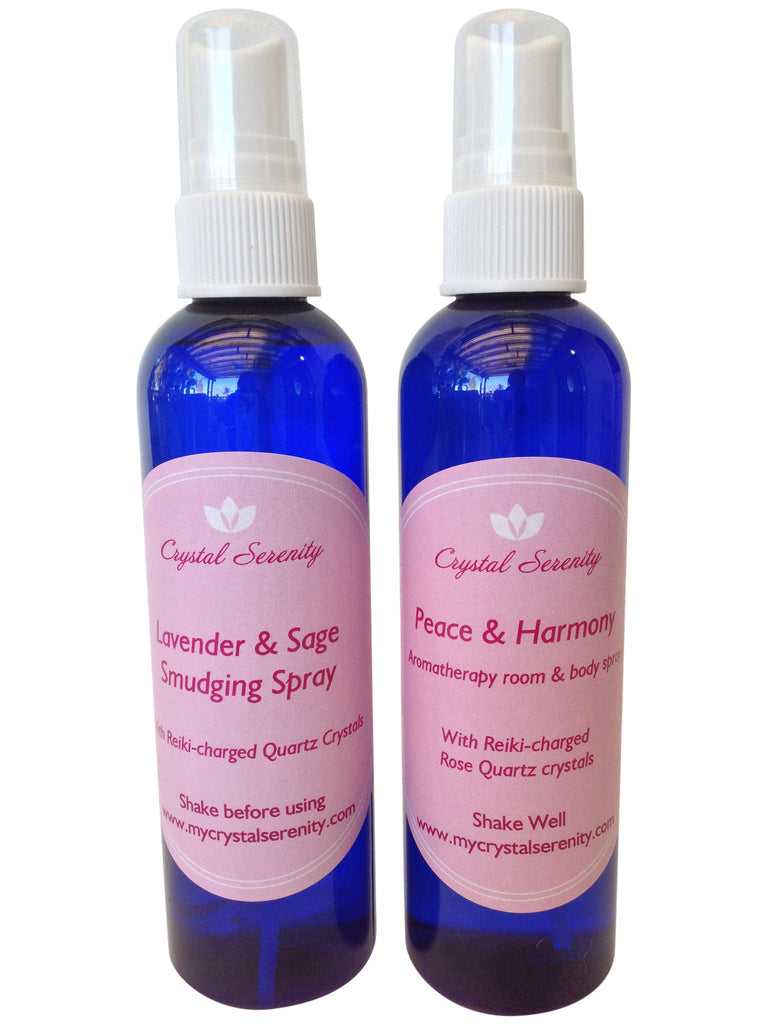 Crystal Serenity Sprays Duo:  Peace & Harmony Aromatherapy Spray and Lavender & Sage Smudging Spray 4 Ounces Each Bottle