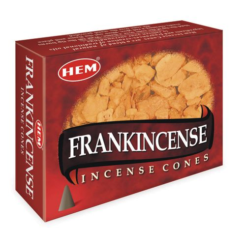 Frankincense Incense Cones by HEM ~ Small Obsidian included in box