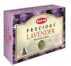 Precious Lavender Incense Cones by HEM 10 pack ~ Small Rose Quartz included in box