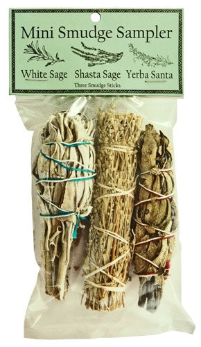 "CLEARANCE ~ Mini Smudge Sampler 4""L (White Sage,  Mt. Shasta Sage, Yerba Santa) (Pack of 3)"
