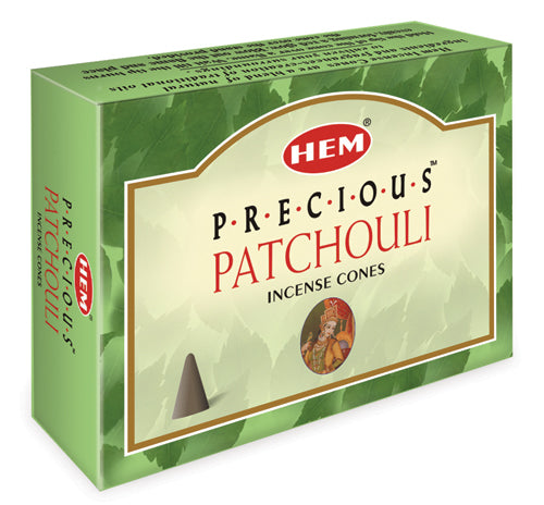Precious Patchouli Incense Cones by HEM ~ Includes Small Quartz in box