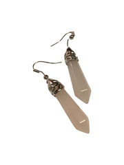 Rose Quartz Crystal Drop Earrings ~ Reiki Charged