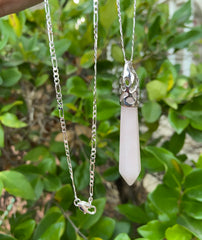 Rose Quartz Pendulum Pendant Necklace on a Silver 28 inch Chain - Reiki-Charged