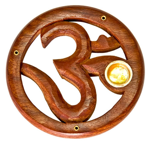 Om Wooden Incense Cone Burner 4""