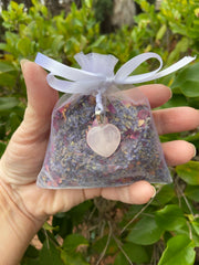 Lavender & Rose Potpourri Sachet with Rose Quartz or Amethyst Heart ~ Reiki-charged