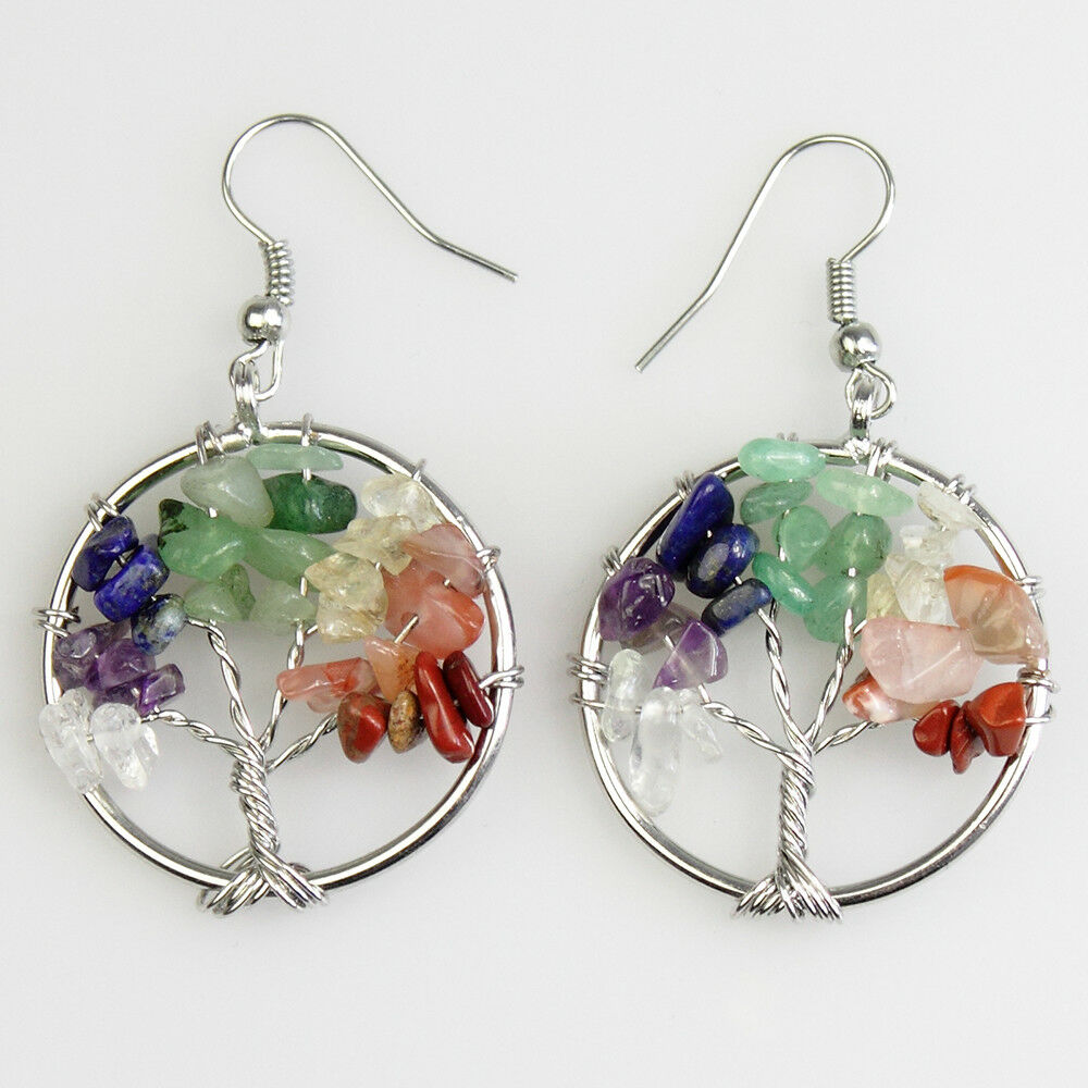 Chakra Tree of Life Gemstone Earrings