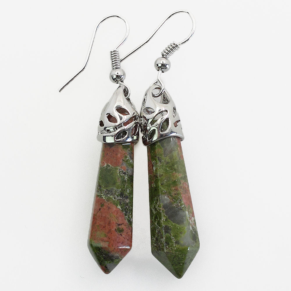 Unakite Jasper Drop Earrings - Reiki-charged