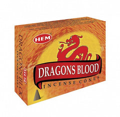 Dragon's Blood Incense Cones by HEM ~ Small Black Obsidian in Box