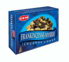 Frankincense & Myrrh Incense Cones by HEM ~ Black Obsidian included in Box