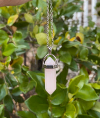 "Rose Quartz Crystal Pendant Necklace on an 18"" Chain ~ Reiki-charged"