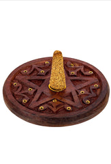 Pentagram Round Wooden Incense Holder 5""