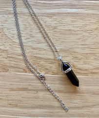 "Black Obsidian, Healing Point Pendant Necklace on an 18"" Chain ~ Reiki-charged"