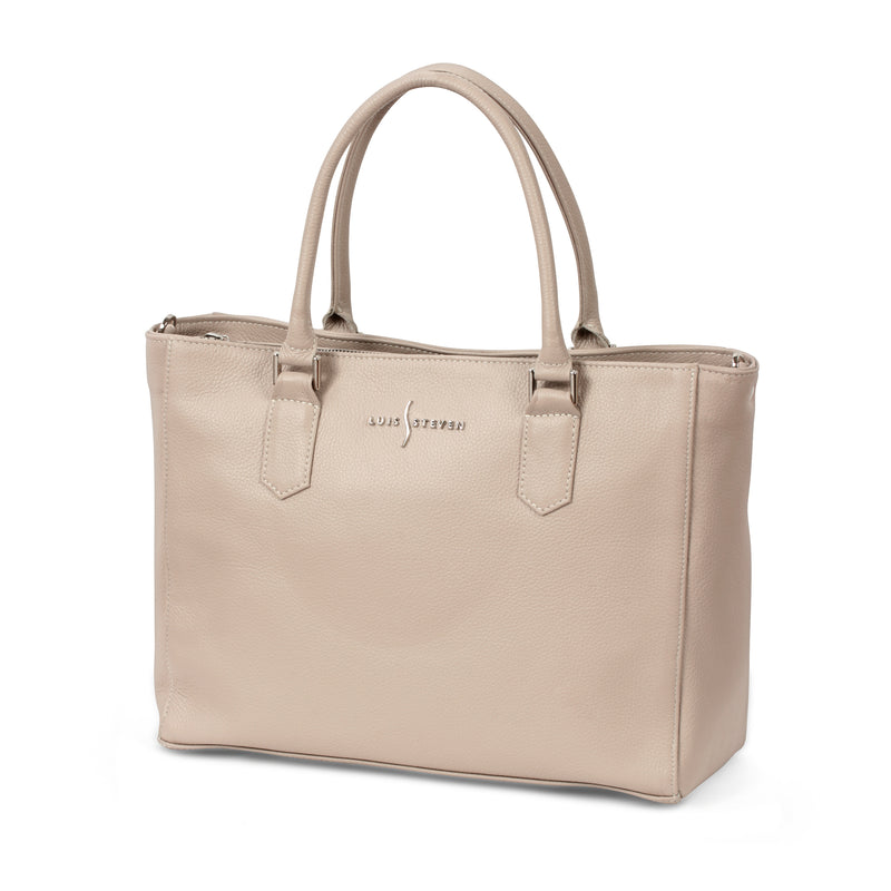 Laptop Tote Pro - Beige Pebble Leather