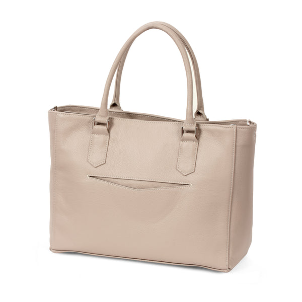 Laptop Tote Pro - Light Taupe Pebble Leather
