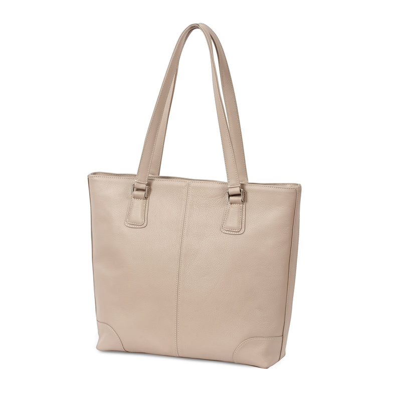 Classic Tote - Beige Pebble Leather