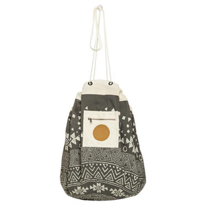 Tribal Printed Play Pouch in Charcoal - Single Sided Print