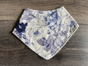 Blue and White Floral Bandana Bib