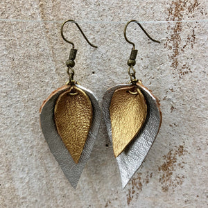 Silver and Gold Leather Leaf Earring