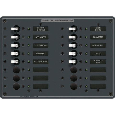 Blue Sea 8561 AC 16 Position 230v (European) Breaker Panel (White Switches) [8561]